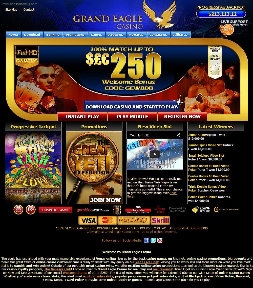 Grand eagle casino no deposit bonus codes 2014 winstar world casinos